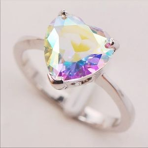 ROSE RAINBOW CRYSTAL ZIRCON STERLING SILVER RING